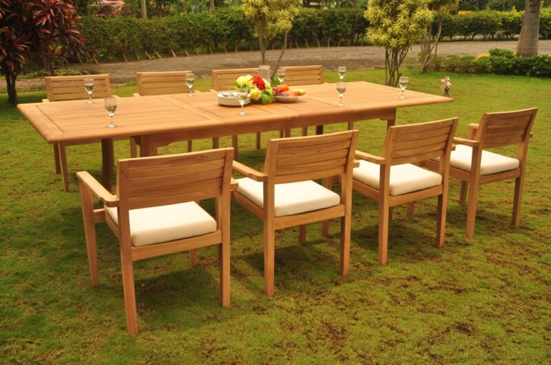 """9-piece Outdoor Teak Dining Set: 117"""" Rectangle Table 8 Stacking Arm Chairs Mont"""