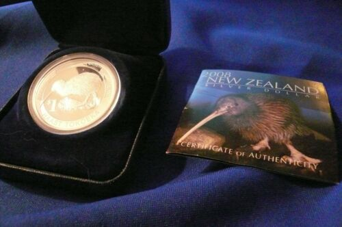2008 NEW ZEALAND 1 Oz .999 SILVER KIWI PROOF COIN Round BOX AND PAPERS