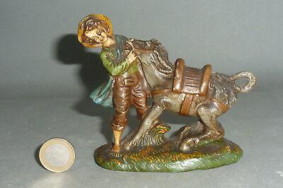 Alte Bauern Figur mit Esel für Krippe & Bauernhof aus Masse 10cm Chialu Nardi ? ()