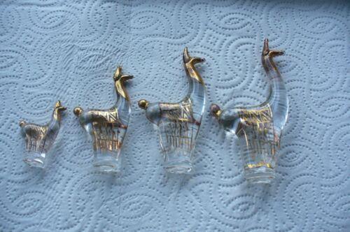 Vintage Alpaca Llama SET OF 4 14KT GOLD Overlay On CLEAR Glass FigurinesPeru