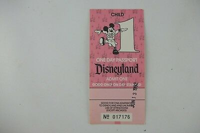 Vintage 1992 Disneyland Ticket Stub, One Day Passport CHILD