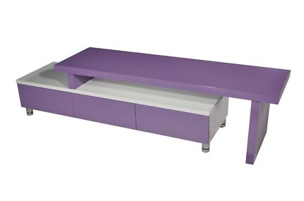 CHARLENE EXTENDABLE  LOWLINE TV UNIT - PURPLE & WHITE OR BLACK