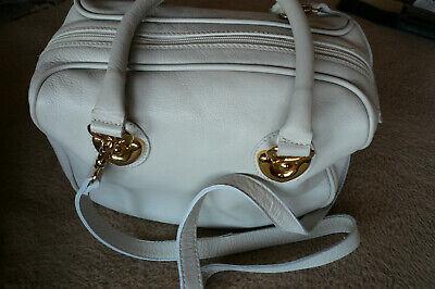 Creme Leder Handtasche (Damen-Handtasche, Leder, Serena Valenti, Italien, creme)