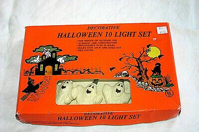 NEW RARE Vintage Halloween String of GHOST/SKELETON Blow Mold 10 Light Set