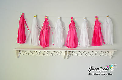 DIY Tissue paper tassel garland white pink wedding birthday party banner baby
