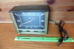 Lux Desk Clock Roman Numerals Square Month Date day Vintage Retro WORKING