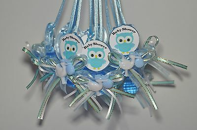 12 Plastic pacifiers for party decoration BABY SHOWER OWL- chupon decoracion (Owls Baby Shower)