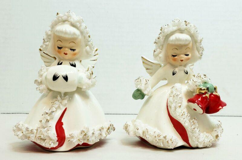 Holt Howard 1958 Spaghetti Trim Christmas Angel Candle Holder Figurines