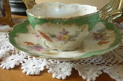 ANTIQUE CONTINENTAL PORCELAIN CHINA FLORAL DUO MATCHING CUP & SAUCER