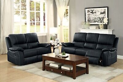 Black Leather Match Recliner Loveseat - 100% TOP GRAIN BLACK LEATHER MATCH RECLINING SOFA LOVESEAT LIVING ROOM FURNITURE