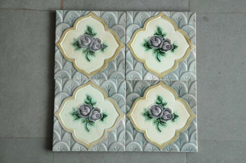 4 Pc Vintage Rose Picture Embossed D.K Mark Colorful Tiles , Japan