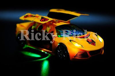 Light Up Transformer Car Toy Musical Sounds Bump and Go Autobot Robot LED Racer