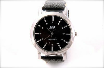 Dress Watch with Black Leather band and 12 Crystal stone accented dial numbers Black Numbers Leather Band