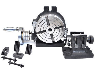Rotary Table 6 Horizontal Vertical 4 Slot With Tailstock M8 Clamping Kit
