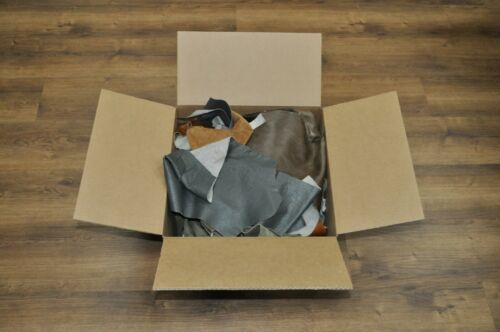 10 lb Box Mixed Colors Cowhide Remnants Scrap Leather Pieces Free Shipping