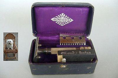 Nassrasierer Mond Extra in Original Box 1900 Jh. Rasierer Rasierhobel 2 Klingen