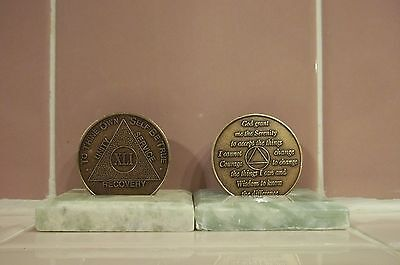 Recovery coins AA 41 Year Bronze Medallion tokens sobriety affirmation birthday, used for sale  Shipping to Canada