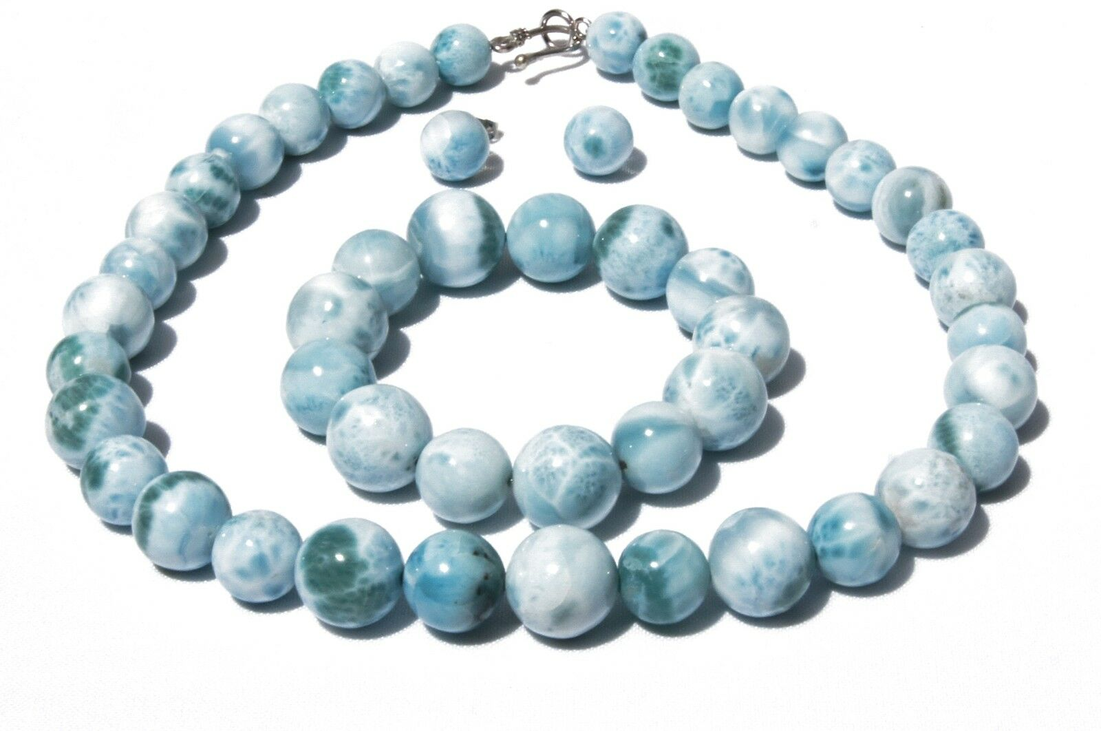Larimar Blue Amber Silver Pendants