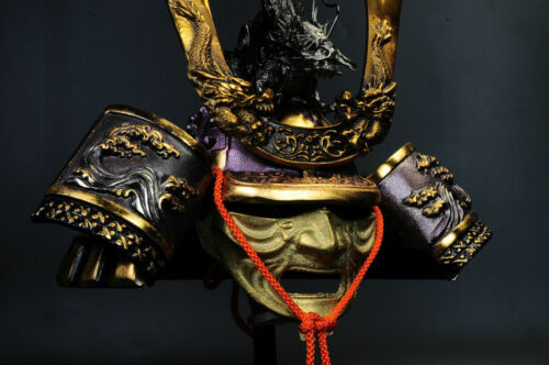 Japanese Samurai Kabuto Helmet -dragon purple helmet with a mask-