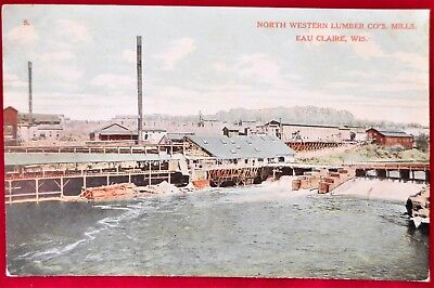 Vintage Antique Postcard North Western Lumber Co Mills Eau Claire Wisconsin