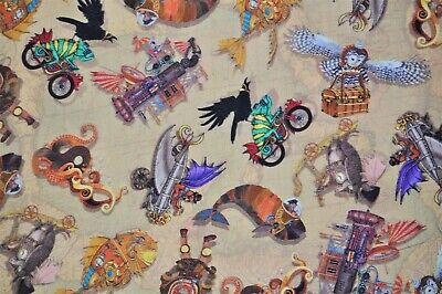 100% Cotton Fantasy and Fiction Steampunk Animals Fabric Quilt Mask FQ 21x18
