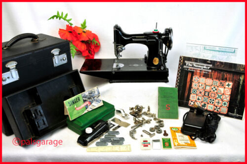 1940 SINGER FEATHERWEIGHT SEWING MACHINE-EXCLNT CONDITION-IT PURRS-WALKING FT