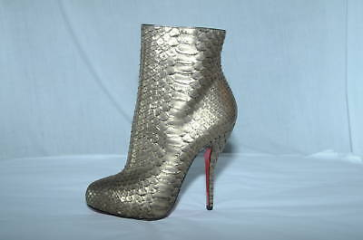New CHRISTIAN LOUBOUTIN Platform Ankle BOOTS FETICHA EXOTIC PYTHON shoes 37
