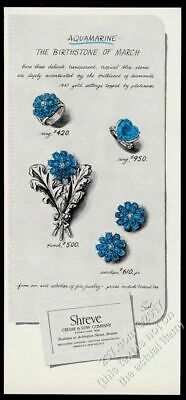 1948 aquamarine heart ring earrings pin Shreve Crump & Low jewelry vintage ad