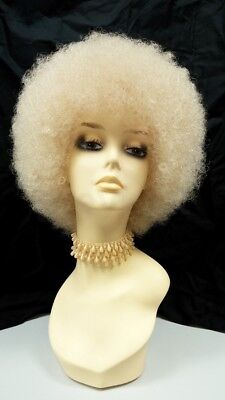 Blonde Afro Wig Costume (Small Blonde Curly Afro Wig Retro 1970s Disco Synthetic)