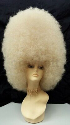 Blonde Afro Wig Costume (Super Large Tall Blonde Afro Synthetic Costume Wig Drag 70s)