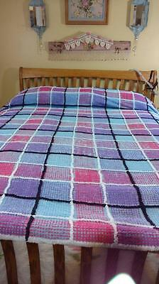 Vintage Chenille Square Multi Color  108x98 Full Rare Bedspread