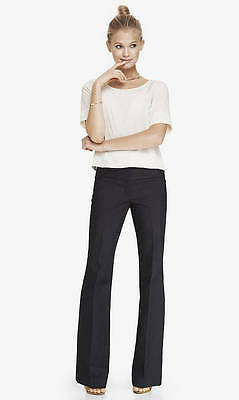 NEW EXPRESS $80 REFINED DENIM WIDE WAISTBAND FLARE EDITOR PANTS SZ 0