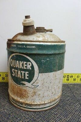 Vtg Quaker State 5 Gallon Motor Oil Gas Can Service Station Wood Handle Man Cave for sale  Shipping to Canada