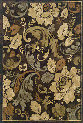 Brown Transitional Machine Made Circles Flowers Vines Area Rug Floral 1279E ()