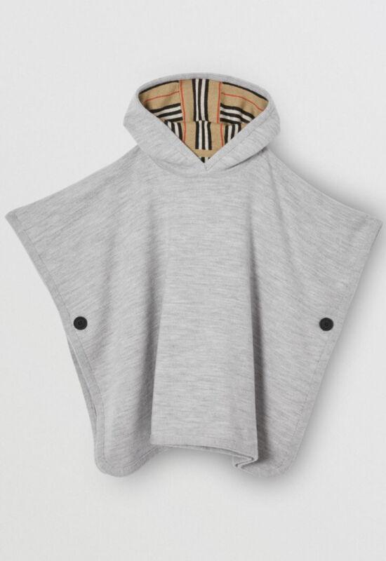 NWT BURBERRY Reversible Icon Stripe Merino Wool Hooded Poncho MSRP 450 Big Kid M
