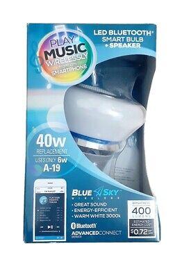 Blue Sky LED Bluetooth Smart Sync Light Bulb + Speaker 40W Warm White Brand New! 40w White Globe Bulb