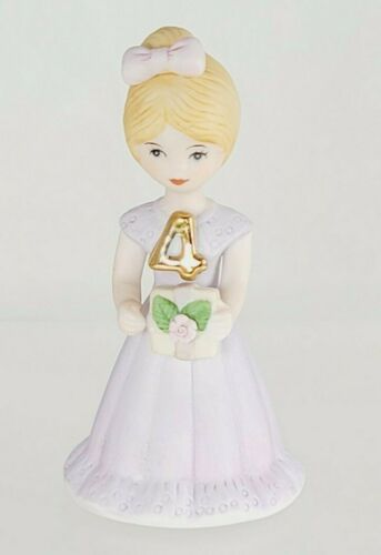 Vintage Growing Up Girls Age 4 Birthday Figurine Collectible Hand Painted Enesco