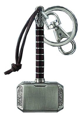 Marvel Comics Avengers Thor 3 Hammer Pewter Keychain Key Ring With Clip