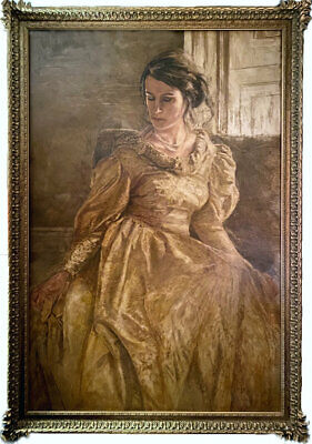 WILLIAM OXER ORIGINAL CANVAS Forgiving Sentiment pretty woman girl lady PAINTING