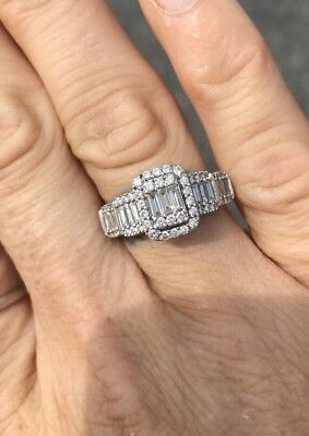Zales 1 Ct  T W  Multi Baguette Diamond Frame Ring In 14K White Gold