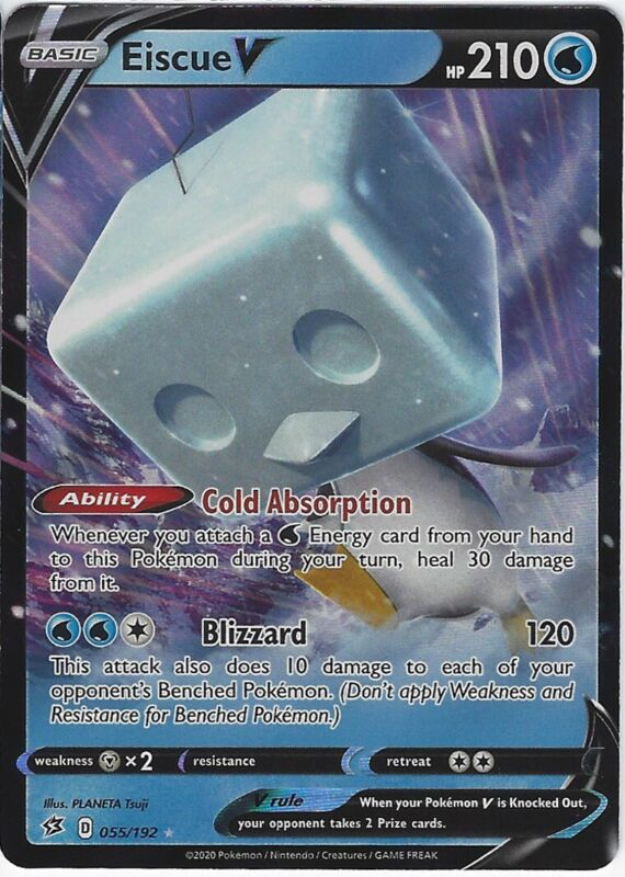 Pokemon Eiscue V 055//192 Holo Ultra Rare Rebel Clash Near Mint