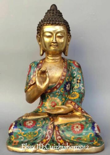"12"" Cloisonne Enamel Gilt Buddhism Sakyamuni Shakyamuni Amitabha Buddha Statue"