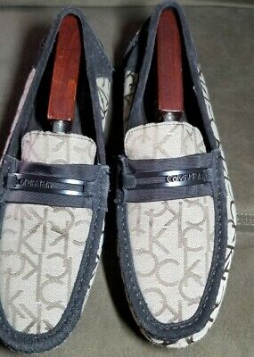 Men's Calvin Klein Signature Logo Slip on Loafers Moccasin Dress Shoes Size 10.