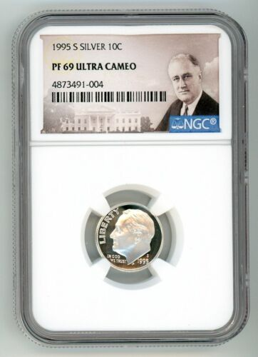 1995 S SILVER ROOSEVELT DIME 10C NGC PF69 ULTRA CAMEO 741