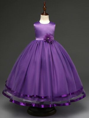 Kids Flower Girl Bow Princess Dress for Girls Party Wedding Bridesmaid Gown K10