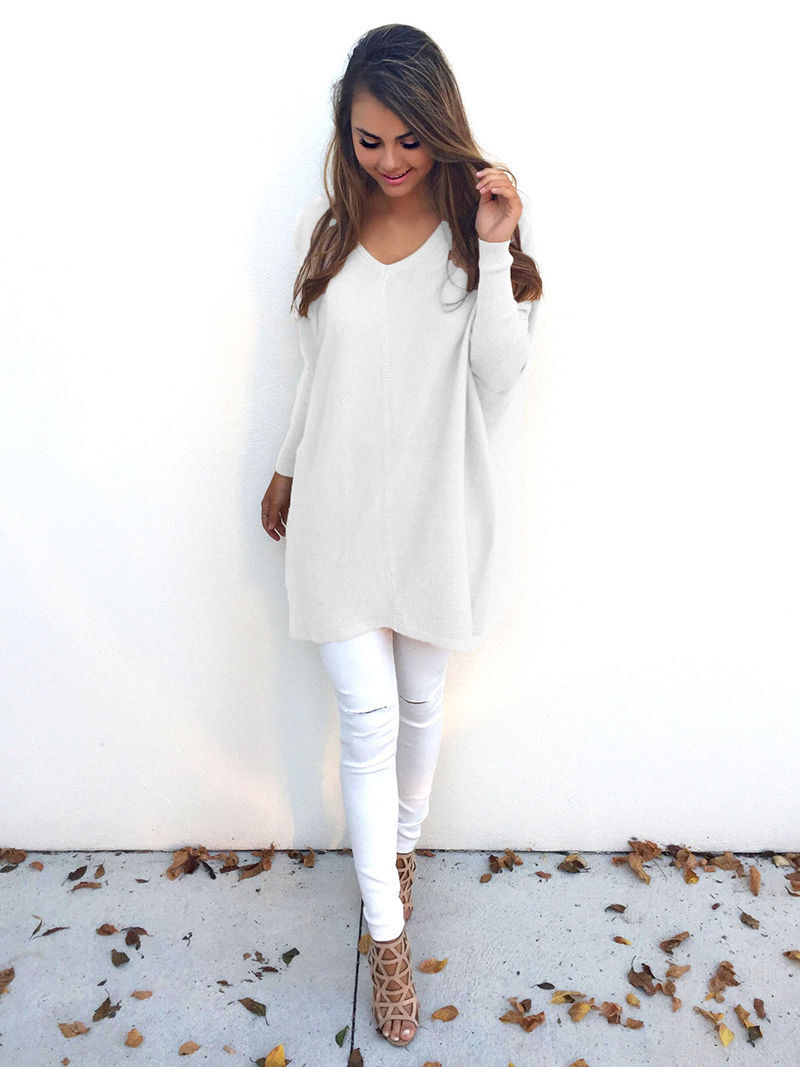 Autumn V Neck Casual Loose Pullover