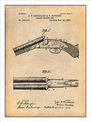 1883 Breech Loading Shotgun Patent Print Art Drawing Poster (Loading Shotgun)