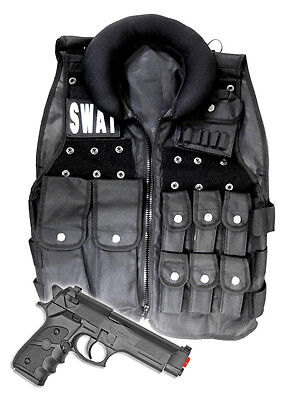 Cop Halloween Costume For Men (Police SWAT Vest Halloween Costume with Toy Gun Cop Adult Men size Airsoft)