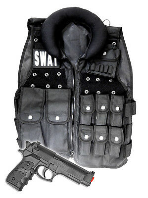 Police SWAT Vest Halloween Costume with Toy Gun Cop Adult Men size Airsoft Pack - Swat Vest Costume