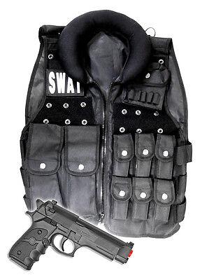 Police SWAT Vest Halloween Costume with Toy Gun Cop Adult Men size Airsoft Pack](Mens Halloween Swat Vest)